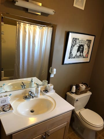 Clean bathroom, shower has a great flow of water (it's my favorite part of this condo).