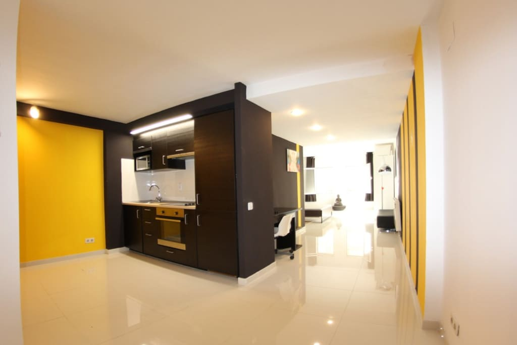 This is a one room apartment with one double bed, sofa-bed in the living and kitchen, 65m2 for 4 people!