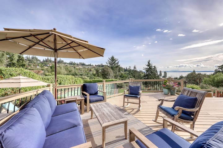 Large, family-friendly home w/ pickleball court, water view, & elegant interiors
