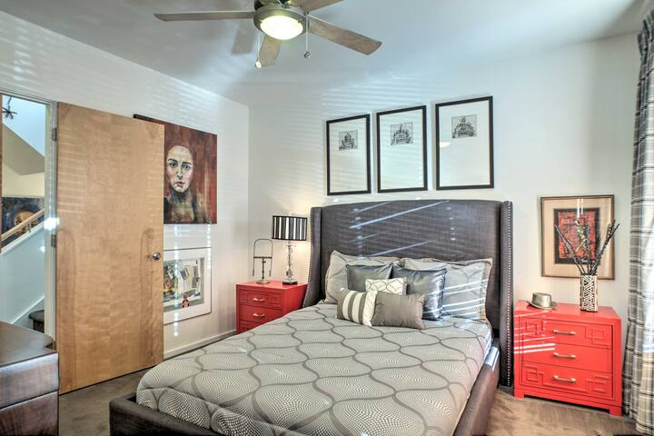 This room boasts a queen bed.