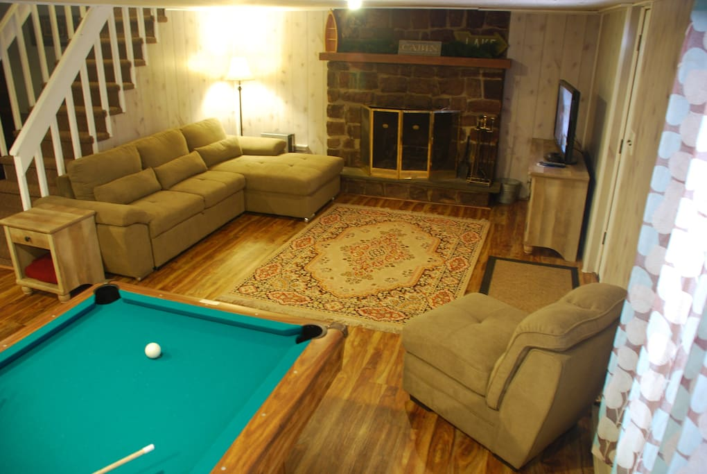 Bottom floor living area and game room