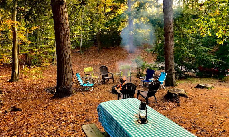 Secluded fire pit area and picnic table on east side of house.