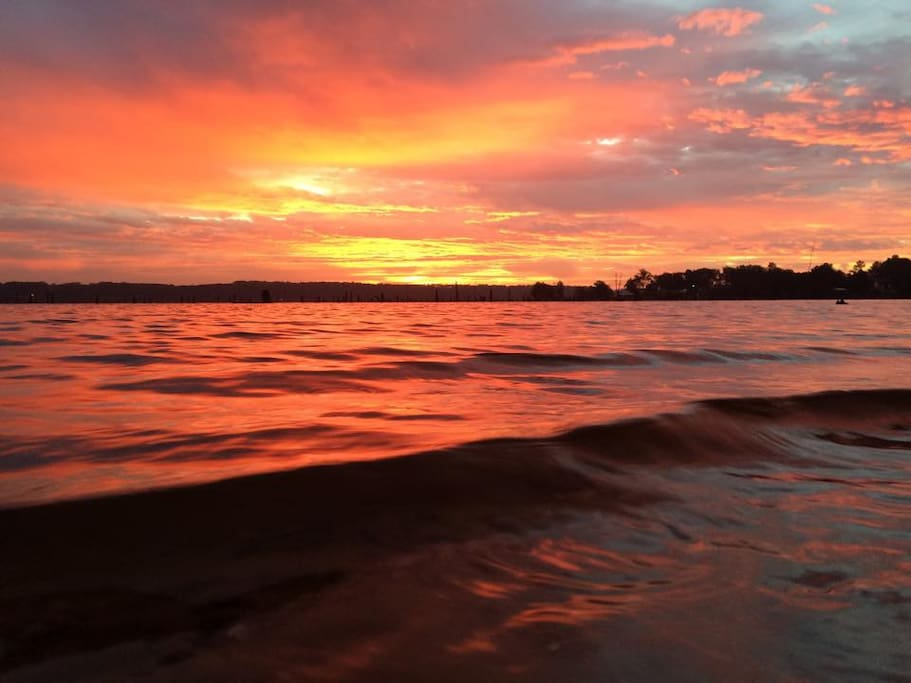 Even the glow of a sunset is dramatic toward the end of a warm summer day.  Best views of the sunset are by kayaks or canoes, which we provide for guest use.
