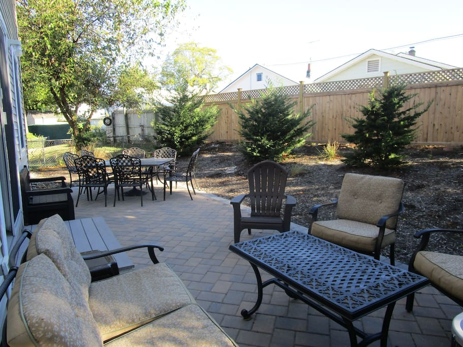 Private back patio seating