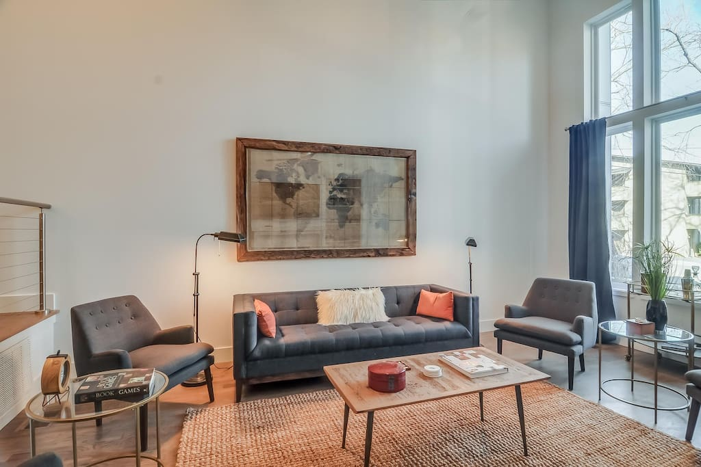 Upscale and professionally decorated living room.
