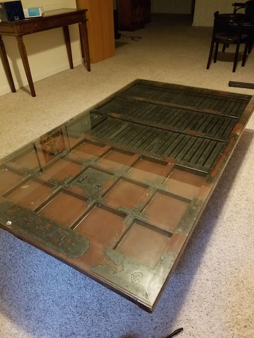 "Coffee table made from a real Japanese ""kura"" door."