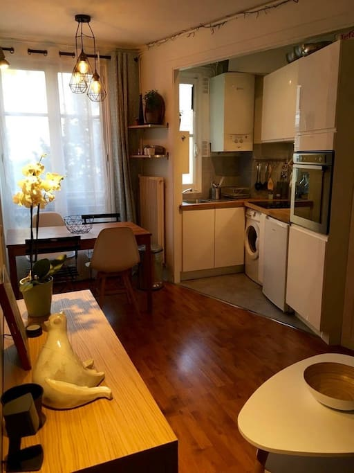 A kitchen open in the living room
