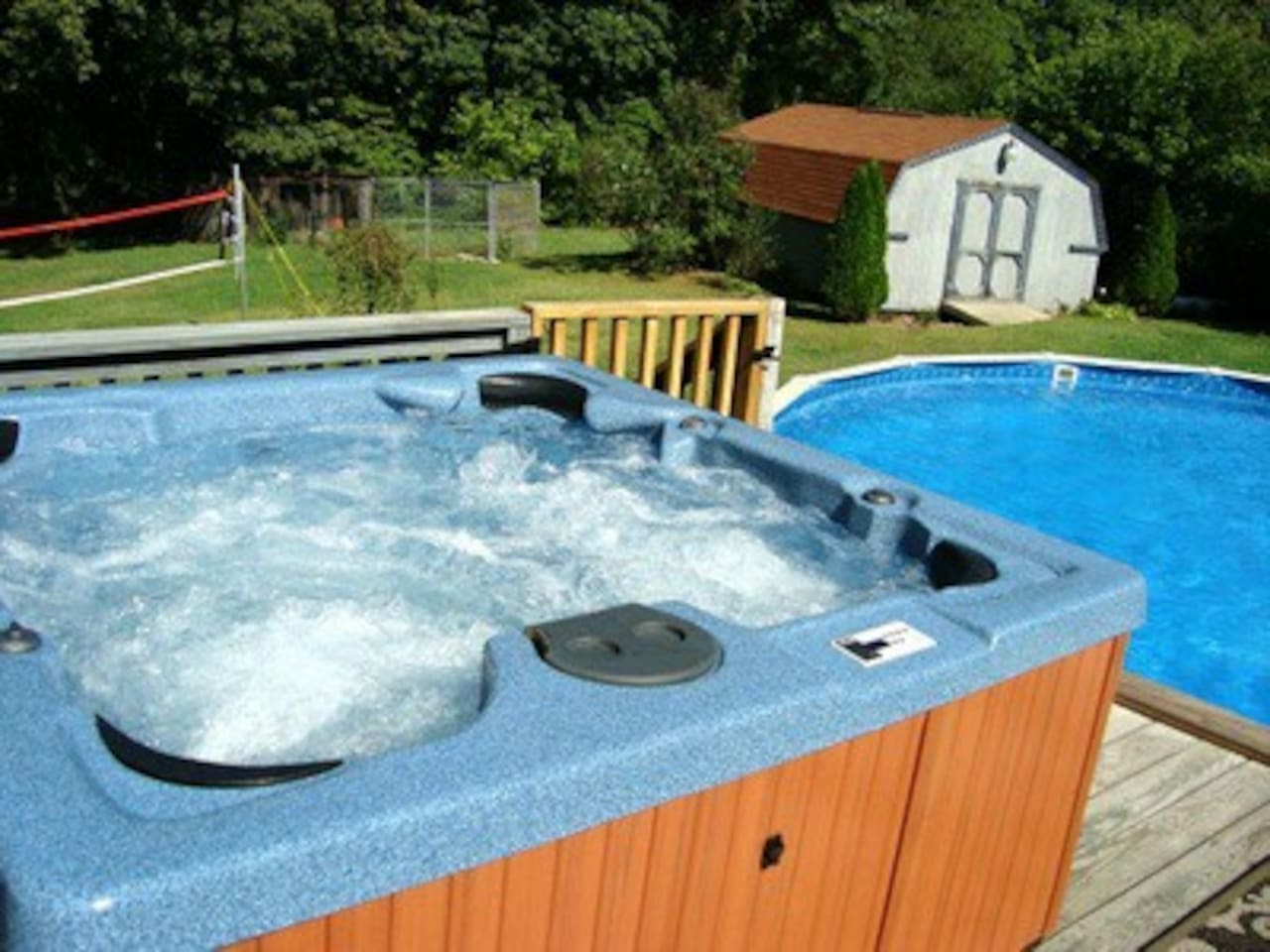 Relax in our 6 person hot tub