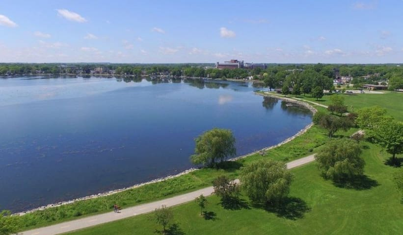 Aerial View of Monona Bay and Bike Path looking Southwest