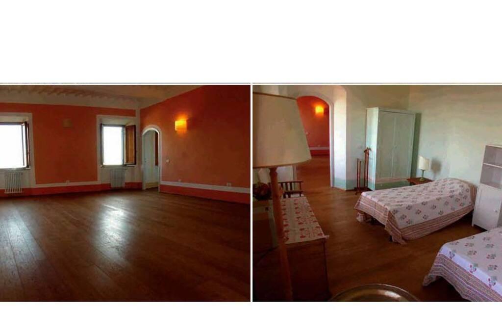 una delle stanze da  letto e l'ampio salone ...