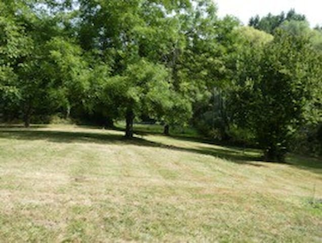 Part of the 5 acres of garden next to a stream.