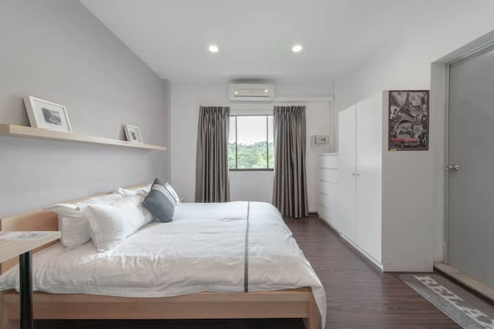 Affordable  hotel room with attached bathroom