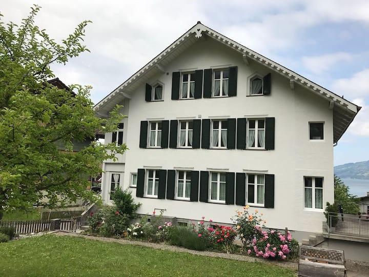 Dachwohnung mit Blick auf den Thunersee und Berge