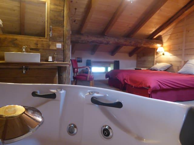 la chambre twin et sa baignoire balnéo