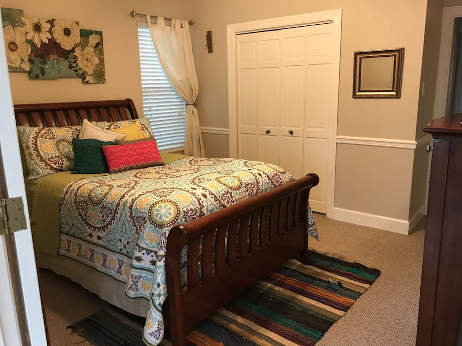 Double doors lead directly into your bedroom with full-size bed.