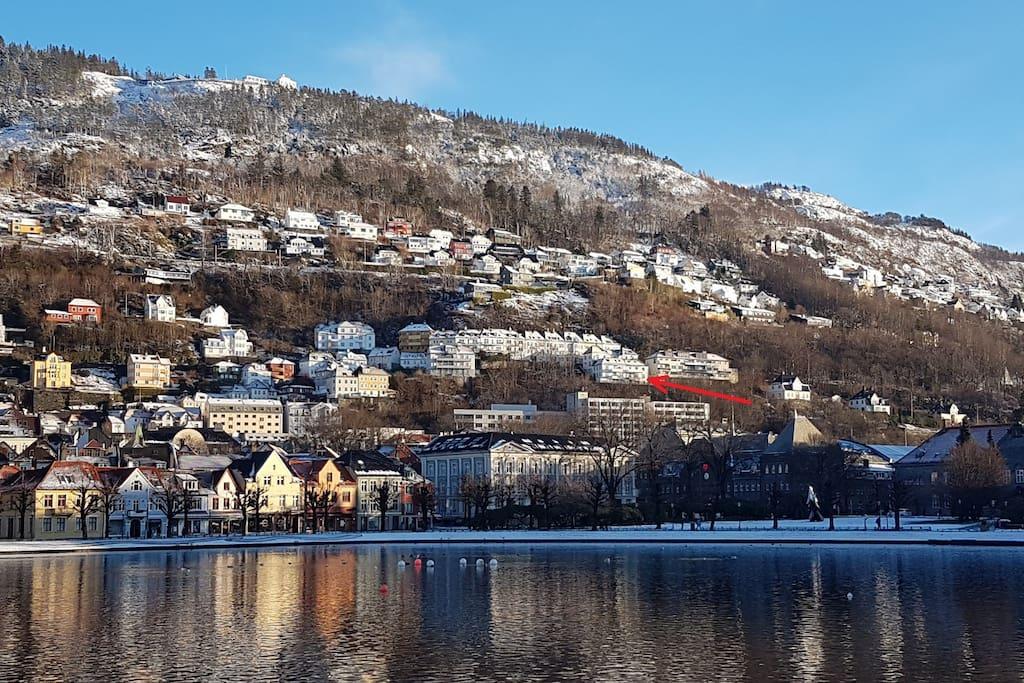 "Seen from ""Lille Lundegårdsvann"" at the very center of Bergen."