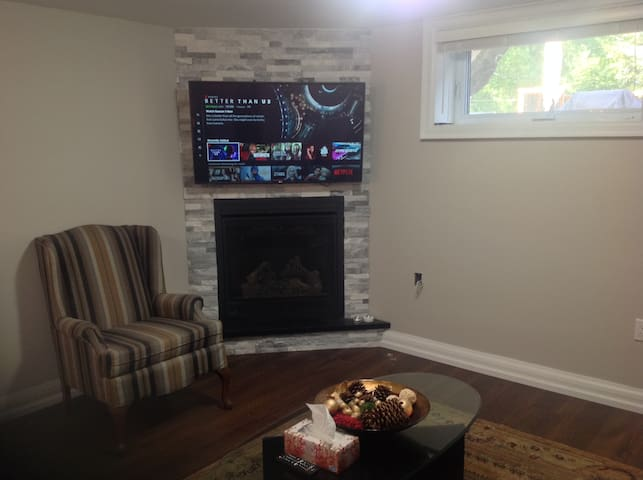 2 bdrm new bsmt, kitchenette, livingroom fireplace