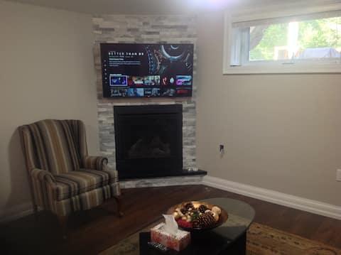 2 bdrm new bsmt, kitchenette, livingroom fireplace