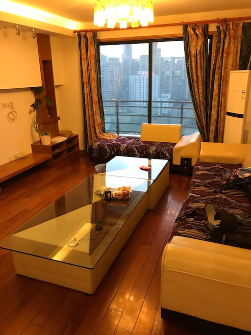 Living room with a beautiful view of Shanghai