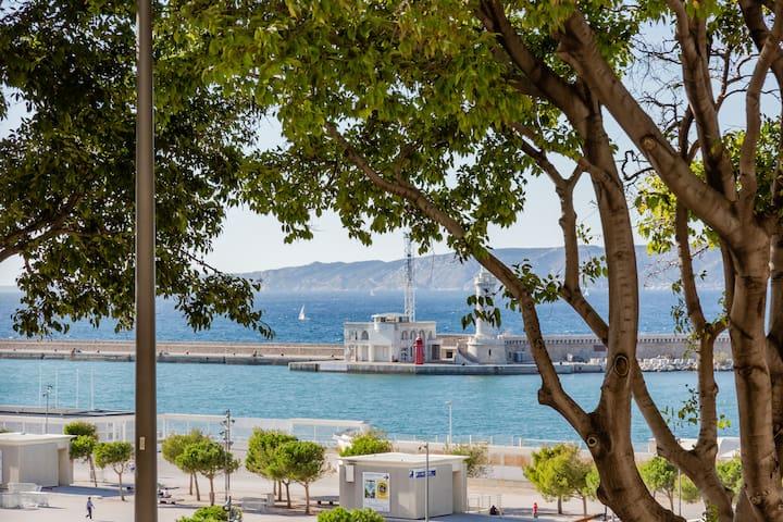Le panier  Mucem  vieux port.  Appartement vue mer