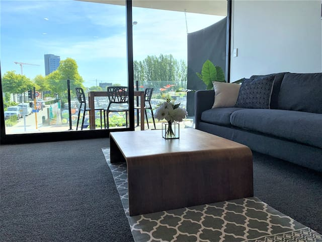 Living area with city view