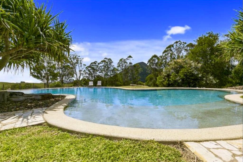 Private salt water resort style pool overlooking Mount Cooroy 19x9m