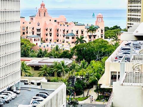 Oceanview Studio Waikiki Free Park Double Balcony