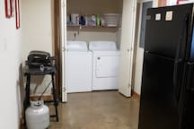 Full size washer and dryers! Laundry soap and fabric softener provided.