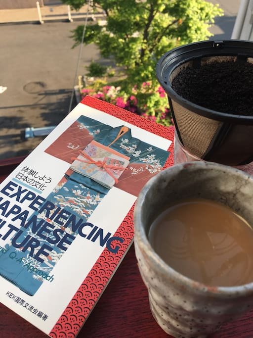 Enjoy Drip Coffee and literature on the balcony