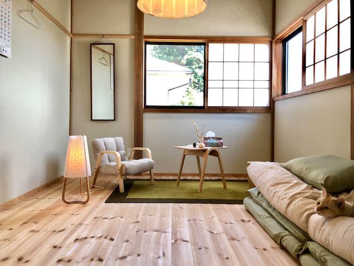 佐渡市小木町「ノラ」南側のお部屋 ネコと家主がお出迎え〜 ( ͏ˉꈊˉ)✧˖°