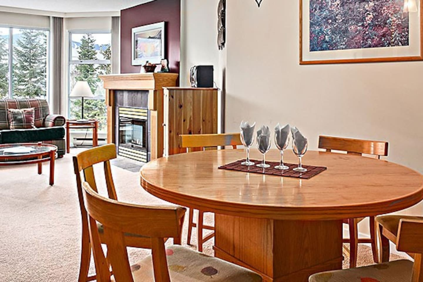 A bright and warm living and dining room.