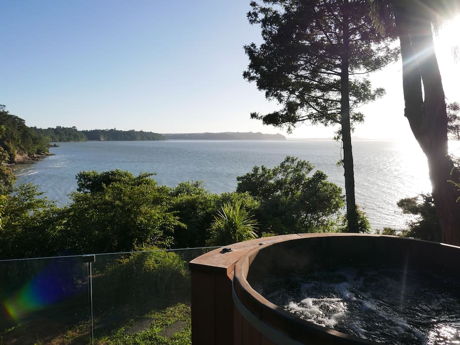 Relax in the spa and pool overlooking Manukau Harbour. Beautiful both during the day and at night.