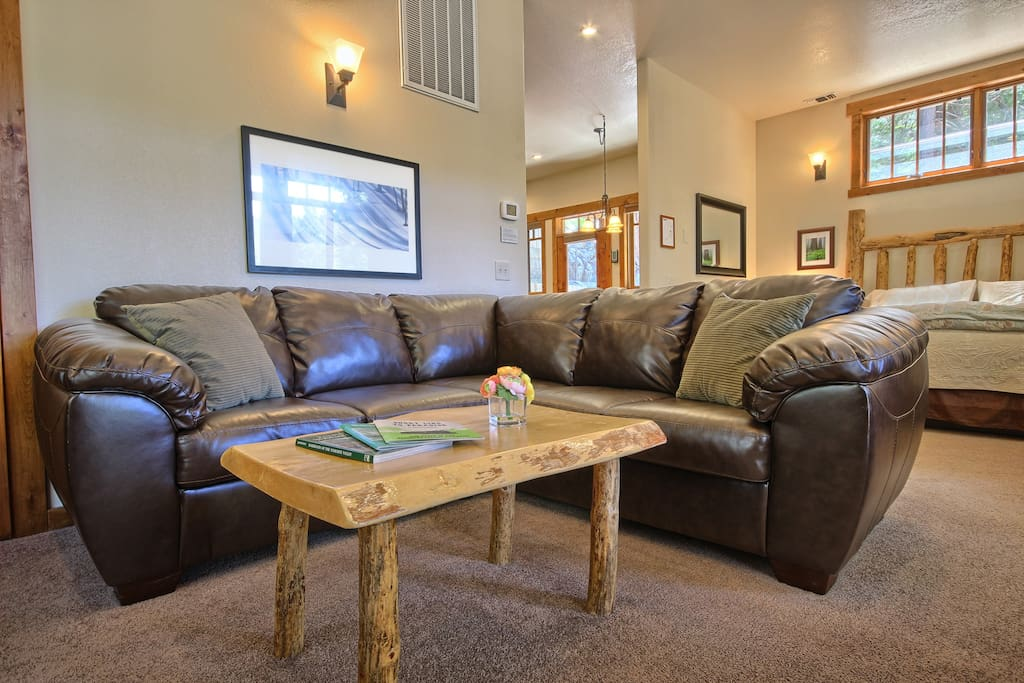 Suite with open floorplan- living room and bedroom are in adjoining spaces.