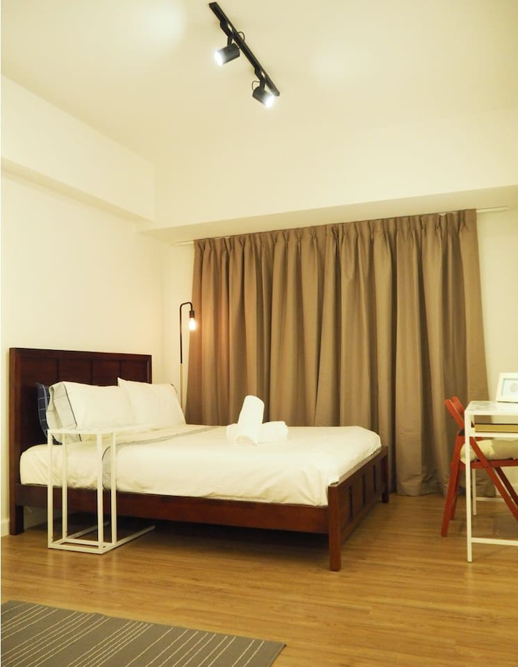 Hotel quality mattress, beddings, and black out curtains! We know what a difference these can make in a good night's rest!