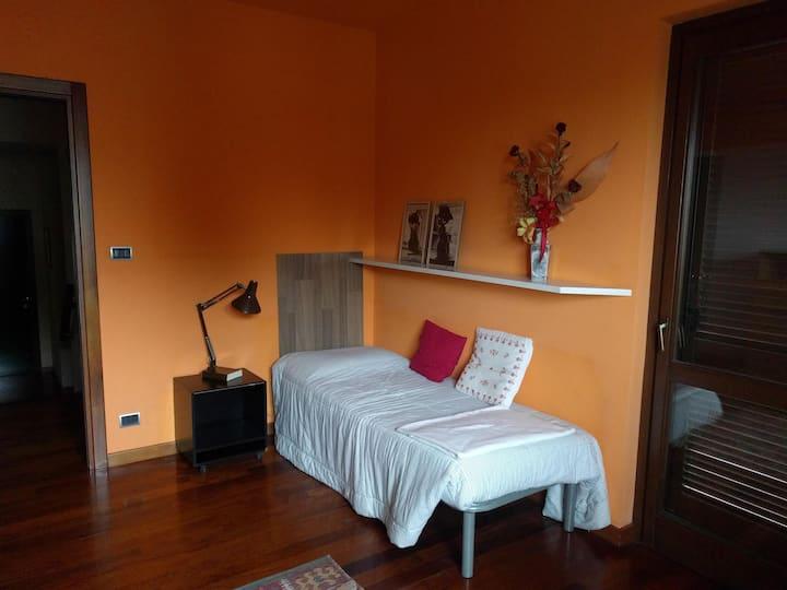 Camera spaziosa con letto singolo con vista