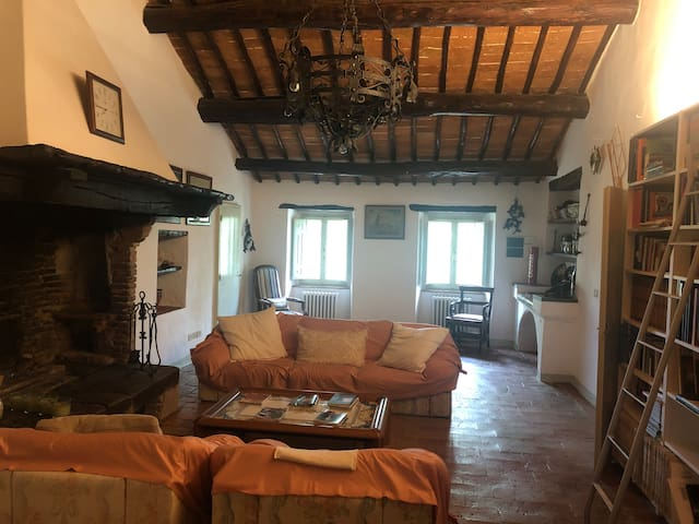 Salotto con camino - Living room with fireplace