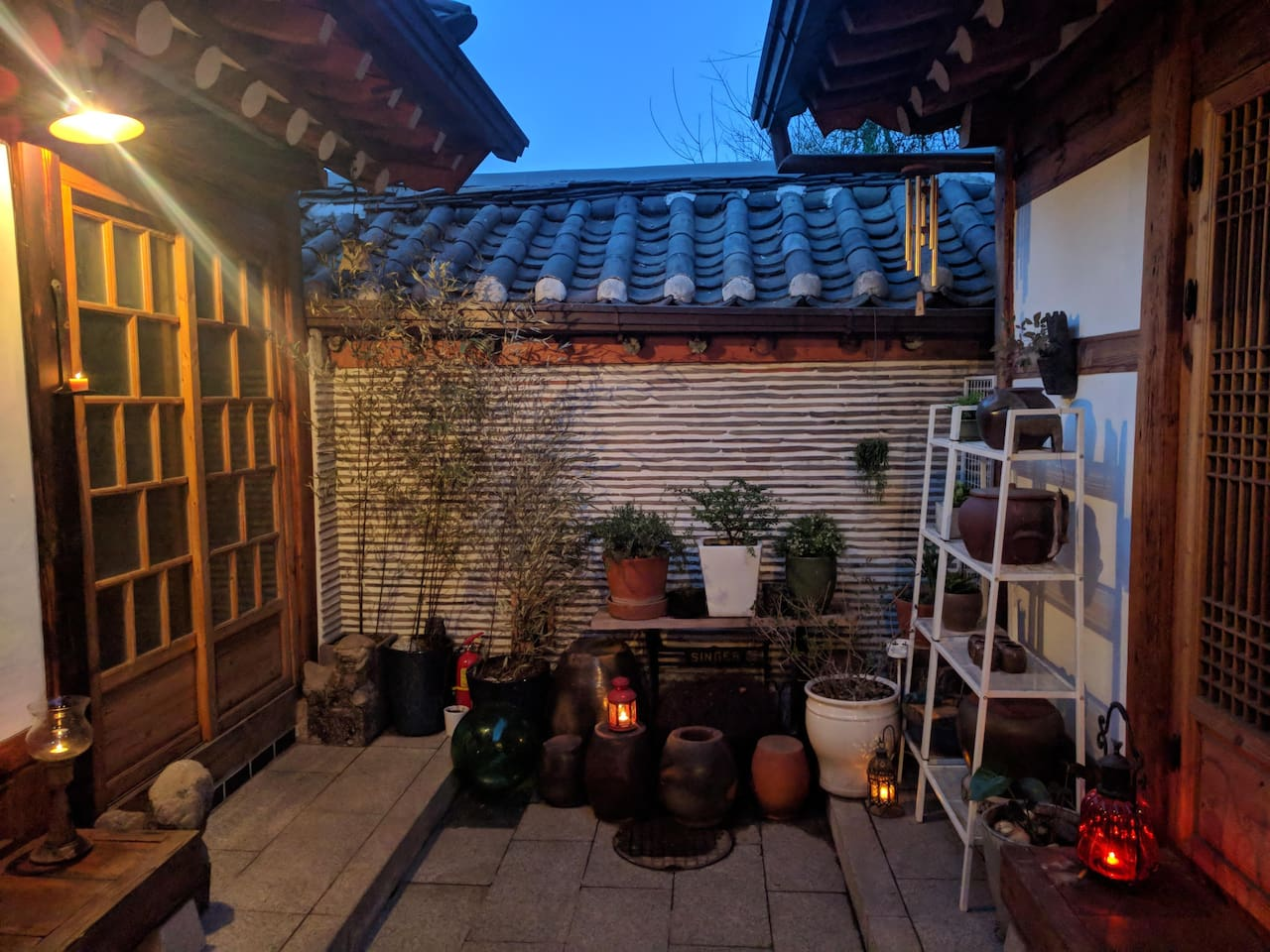 Our courtyard at night