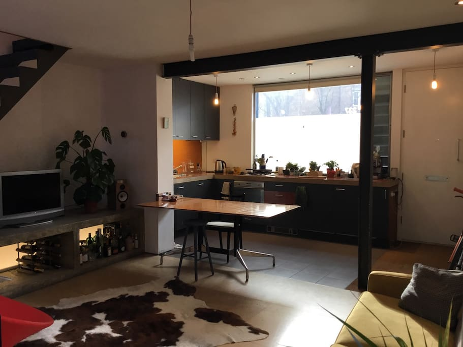 Enjoy open plan living in this light filled living space. Kitchen is equipped with multiple ways of making coffee and all amenities you might need. We encourage full full use of this space and