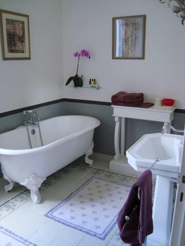 Bathroom with angel claws bathtub