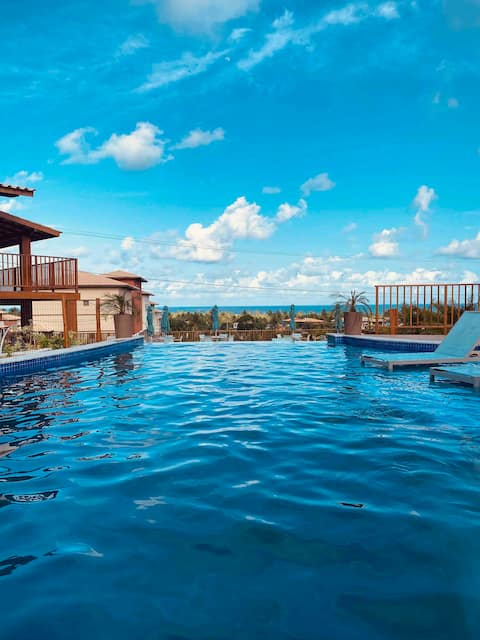 Imbassaí Oaho rústico conforto vista mar piscinas