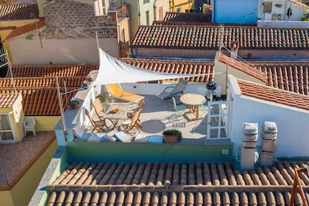 The view over the rooftops in Bosa