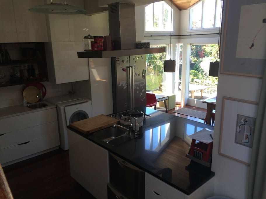 Big open space kitchen, high stud with lovely views in every direction