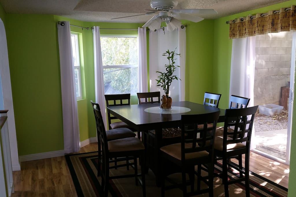 The huge dining room table comfortably seats 8. Lazy Susan built in!