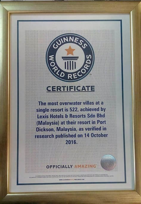 Guinness World Record for the most Overwater Villas
