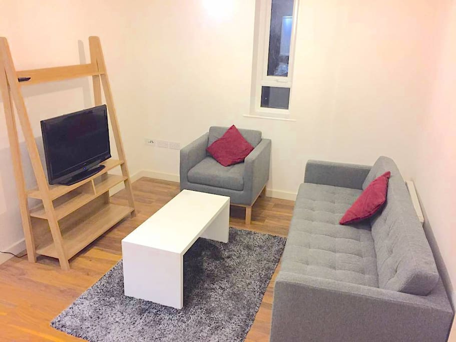Living Space with TV (Netflix connected) & sofa which can sleep one extra guest