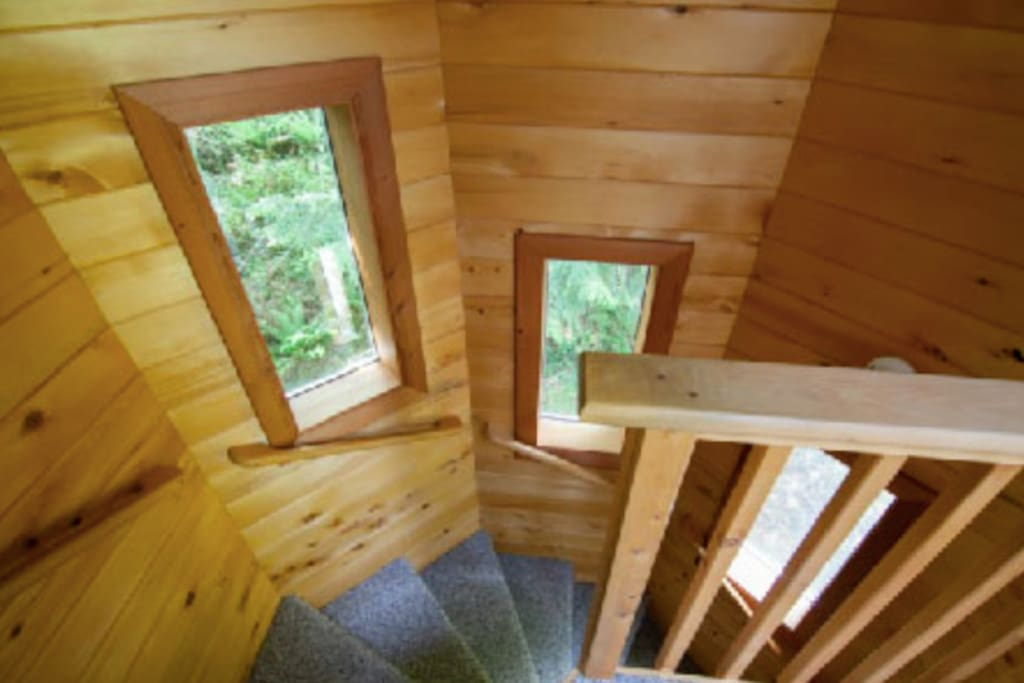 Spiral staircase constructed from local wood