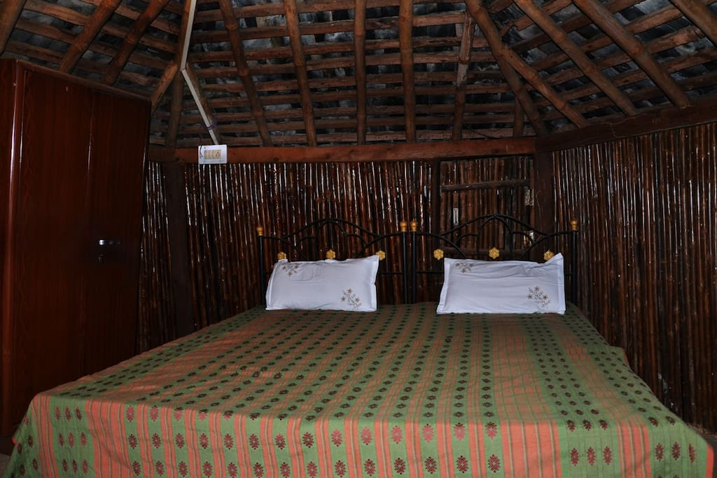 Interiors of the hut. The room is on the first floor of the hut.