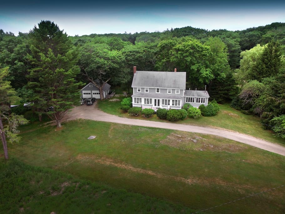 Ariel view of house and front lawn