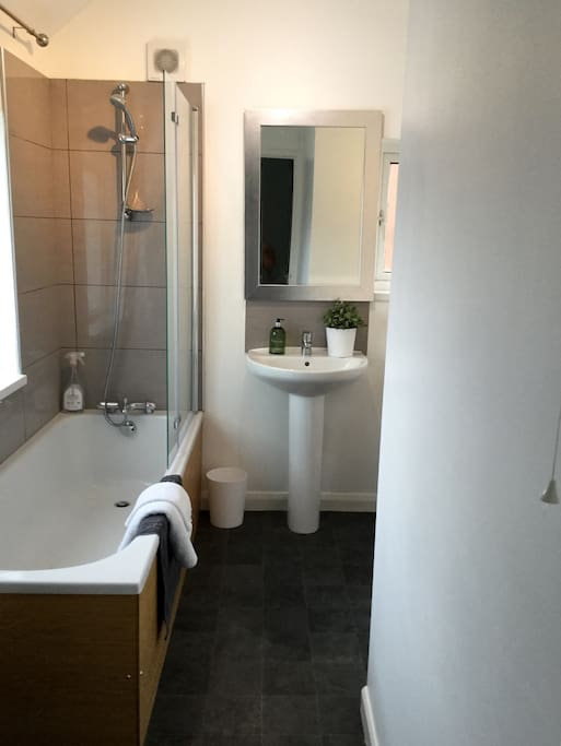 Bathroom with shower over the bath. There is also and extra toilet downstairs as well as upstairs.