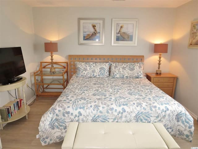 Sleep like a baby or enjoy a show on the large HDTV in the king sized bed.